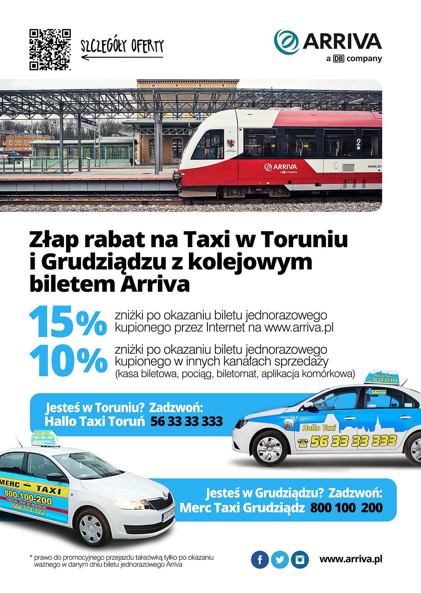 Zniżka 10/15% na taksówkę po okazaniu biletu kolejowego (Toruń, Grudziądz) @ Arriva