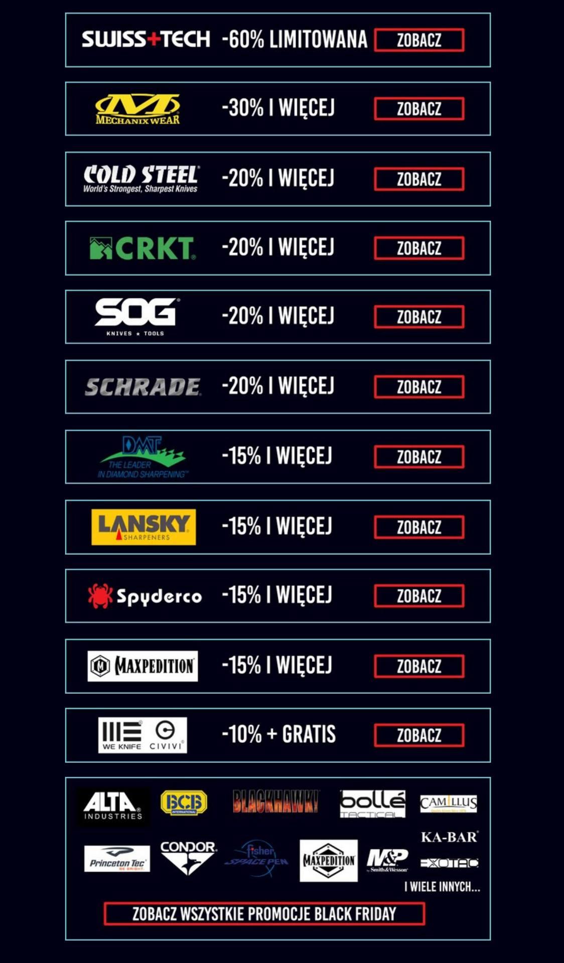 CQB.PL Black Friday -60% Swiss Tech - 30% Mechanix - 20% Cold Steel I wiele innych