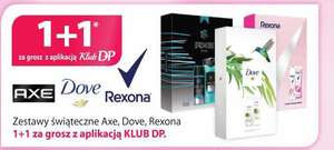 Drogeriepolskie.pl DOVE REXONA AXE zestawy 1+1 gratis w KlubDP