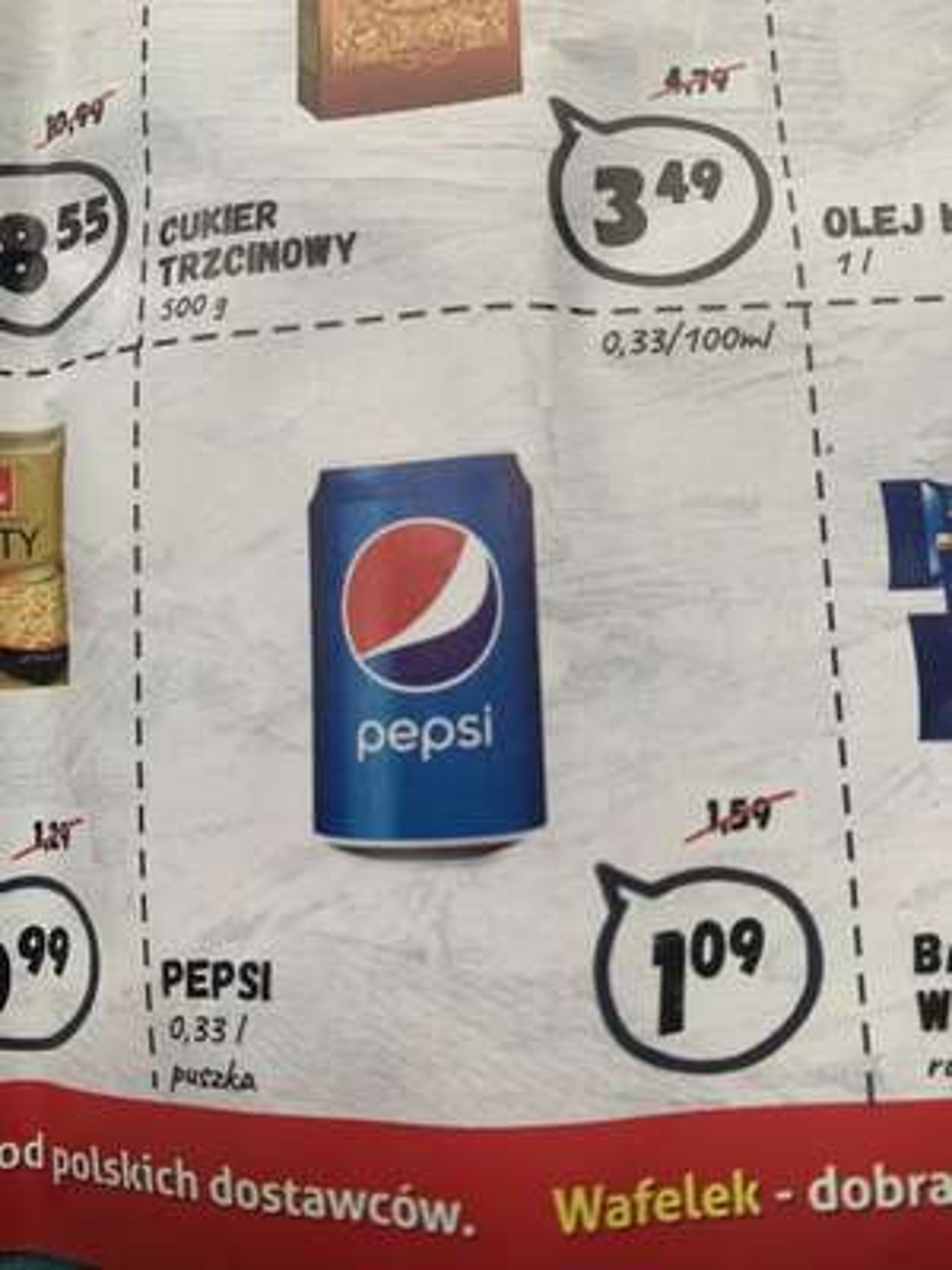 Pepsi puszka 0,33l Wafelek Sędziszów