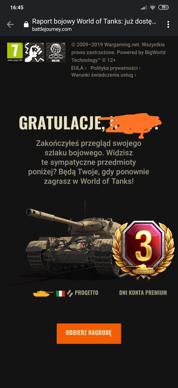 World Of Tanks 3 dni Premium + czołg premium Progetto