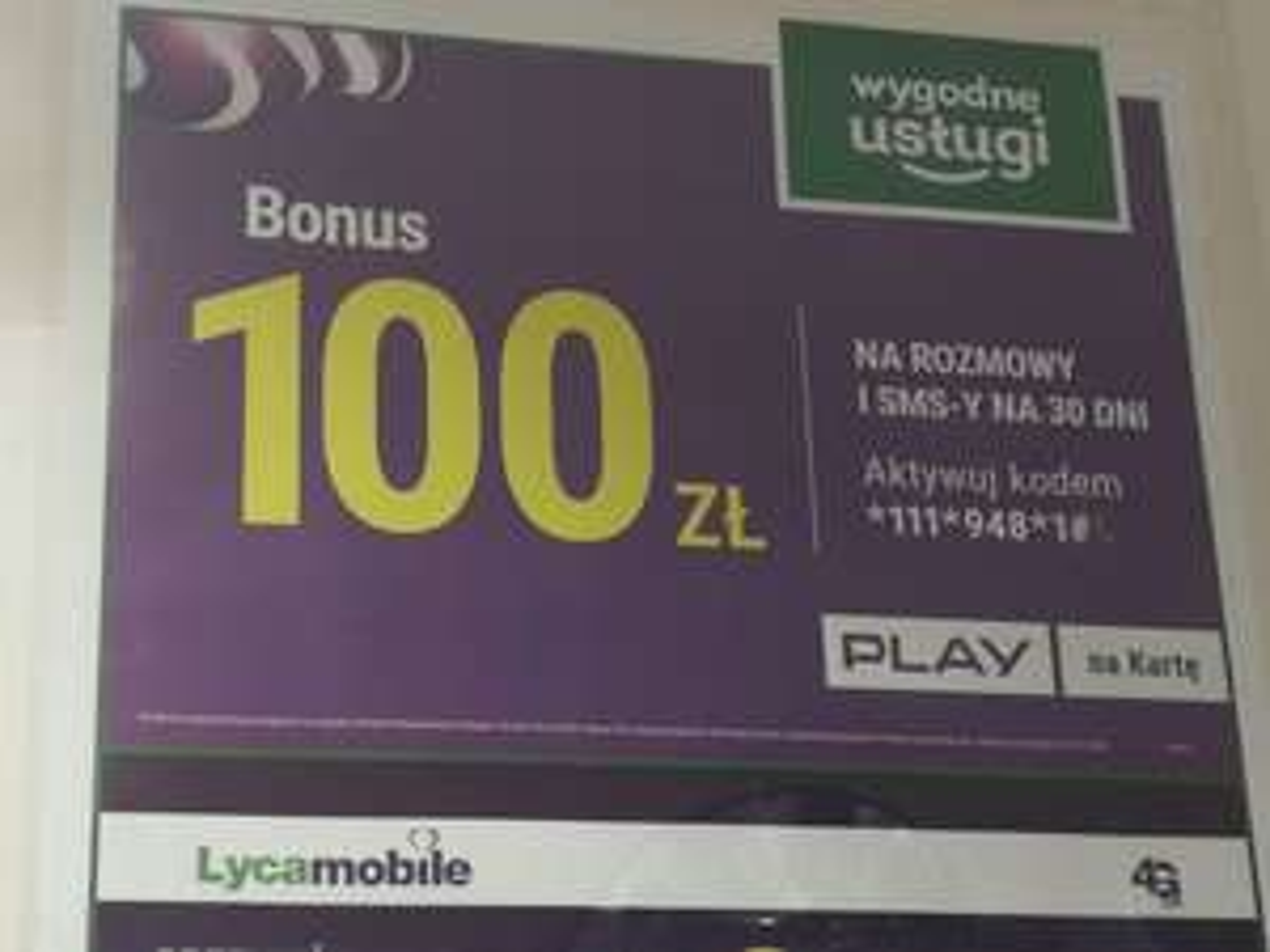 Bonus 100 zł PLAY