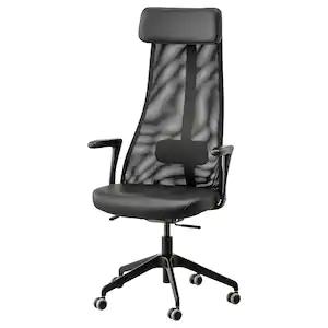IKEA JÄRVFJÄLLET - skórzane krzesło biurowe z podłokietnikami, glose czarny