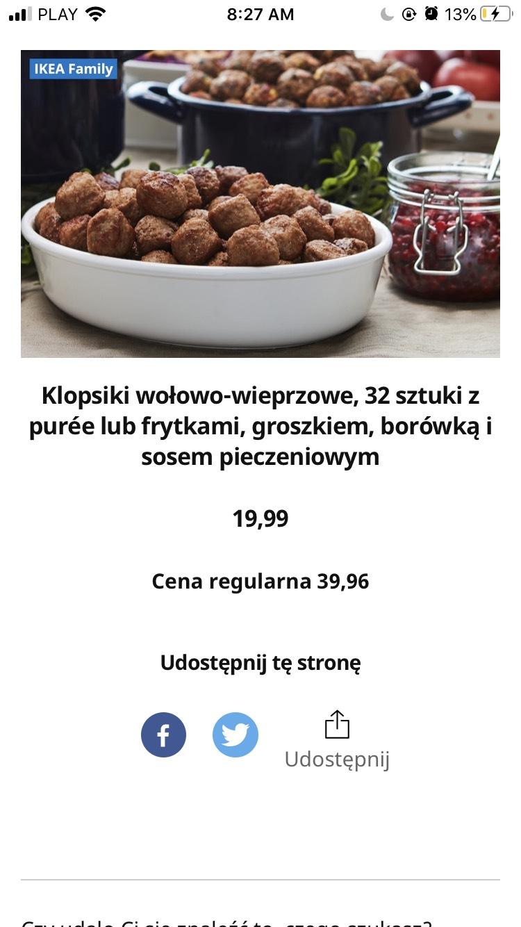 Ikea klopsiki 32 sztuki w świetnej cenie