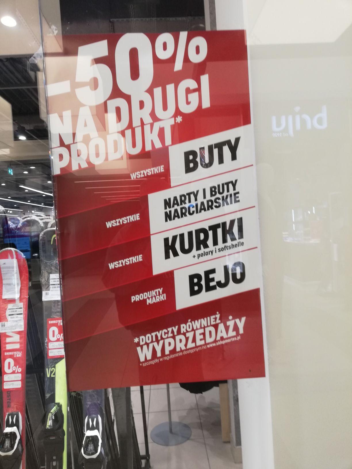 Martes Sport - 50% na drugi produkt - tylko sklepy stacjonarne