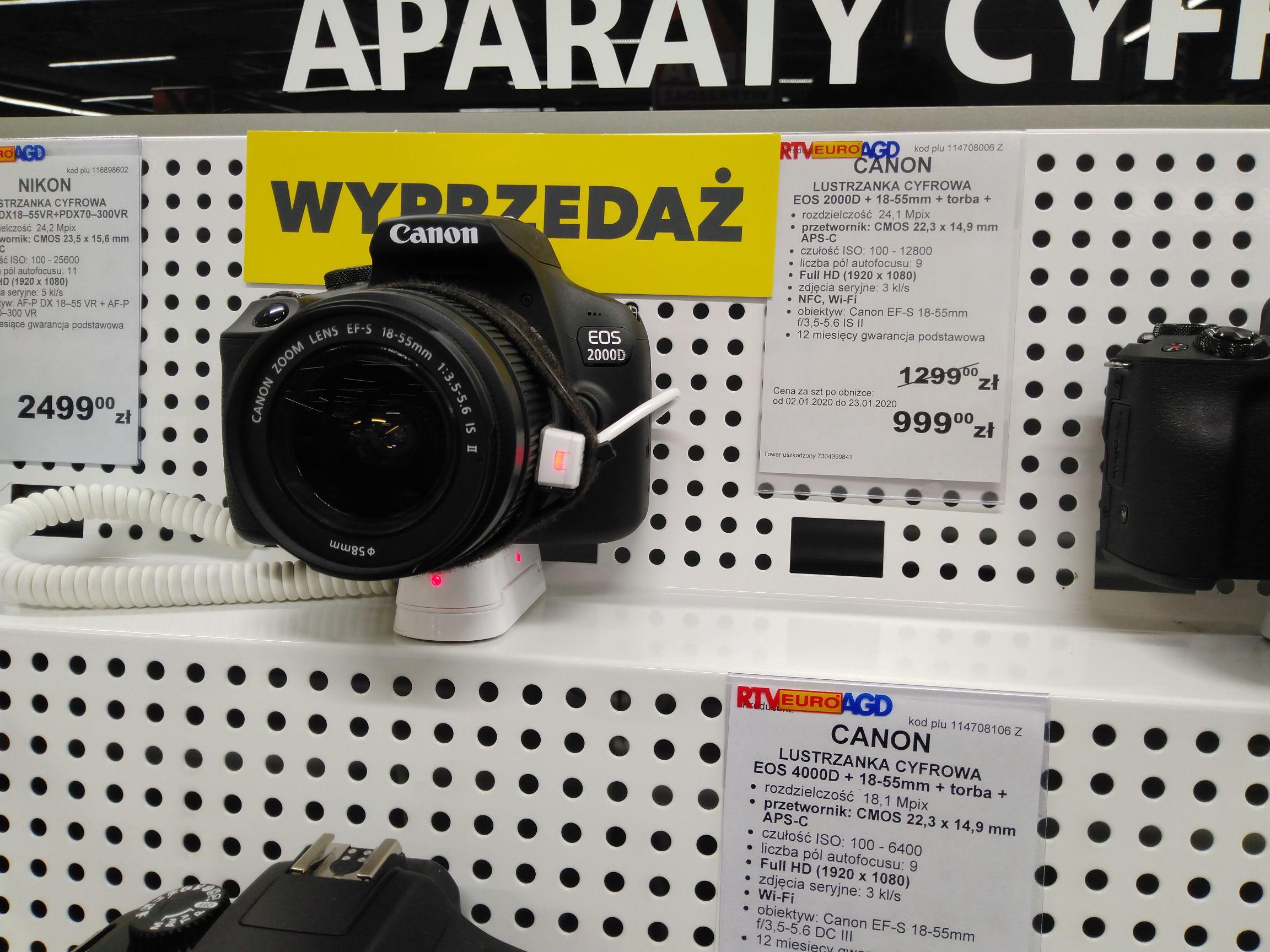Lustrzanka Canon 2000d + kit + torba @EuroRTV Ostrów Mazowiecka