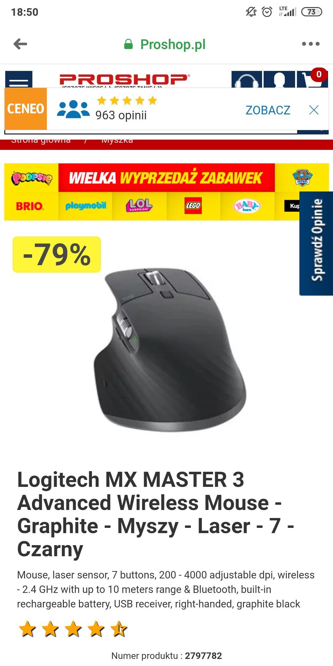 Mysz Logitech MX MASTER 3 Advanced Wireless Mouse (89,99 zł + wysyłka)