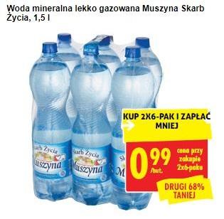 Biedronka, woda Muszyna 1,5l w cenie 0,99 zł przy zakupie 2x6 pak