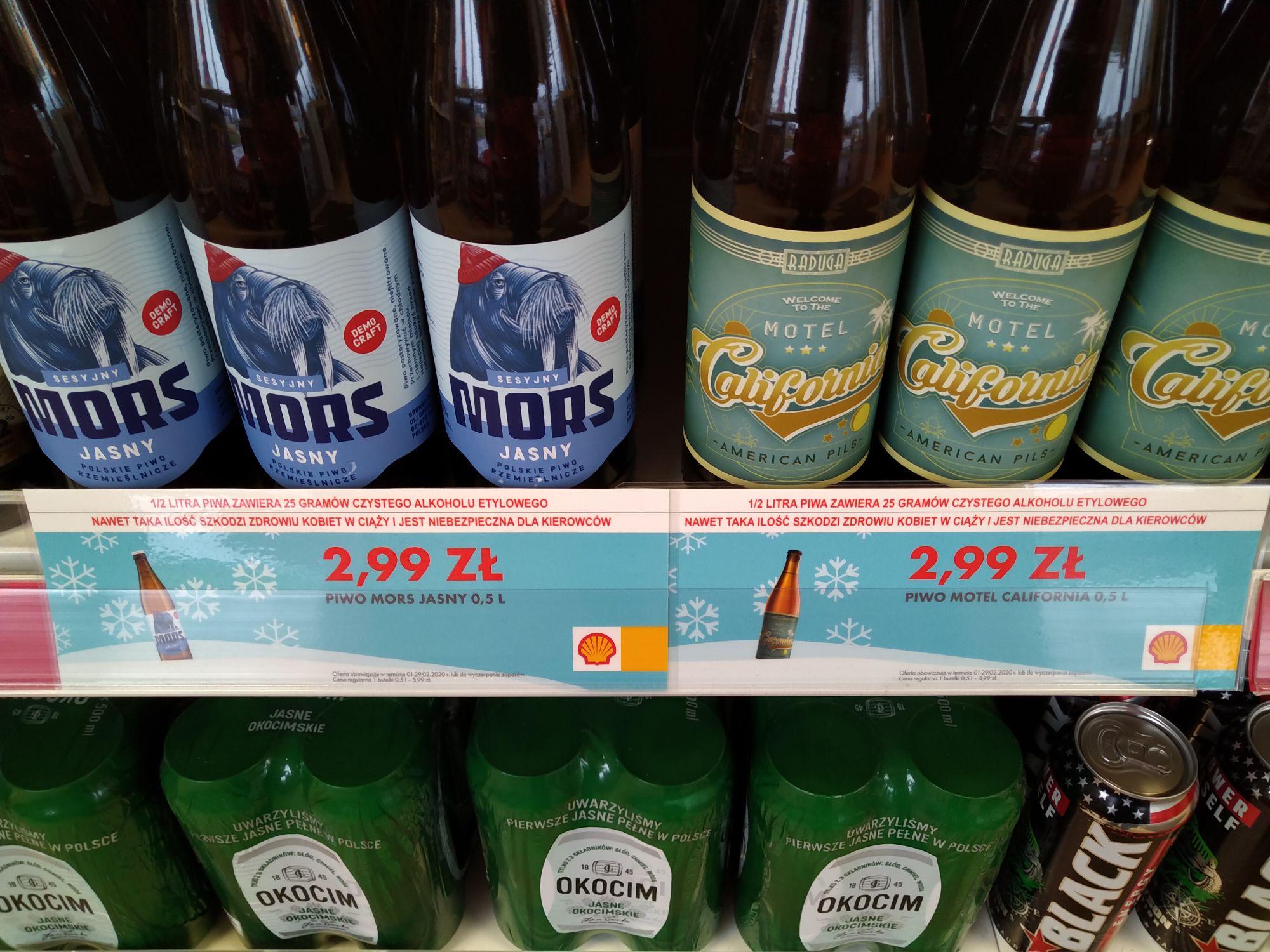 Na stacjach Shell, całkiem niezłe piwa w bardzo dobrej cenie. California Motel i Mors Jasny.