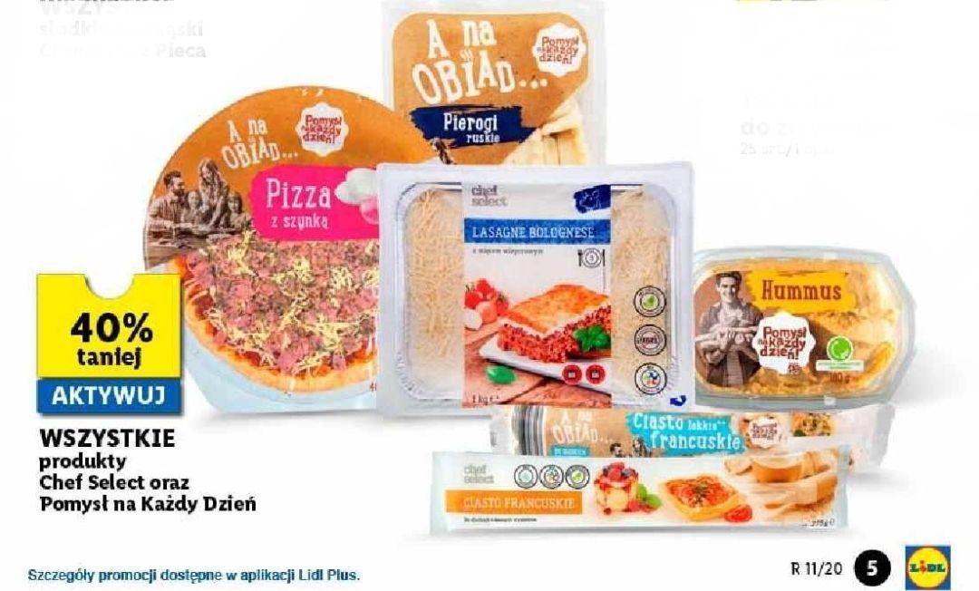 Wszystkie produkty Top Chef Select, Pomysł na Każdy Dzień 40% oraz Słodkie przekąski trzecia sztuka 99% taniej - Lidl