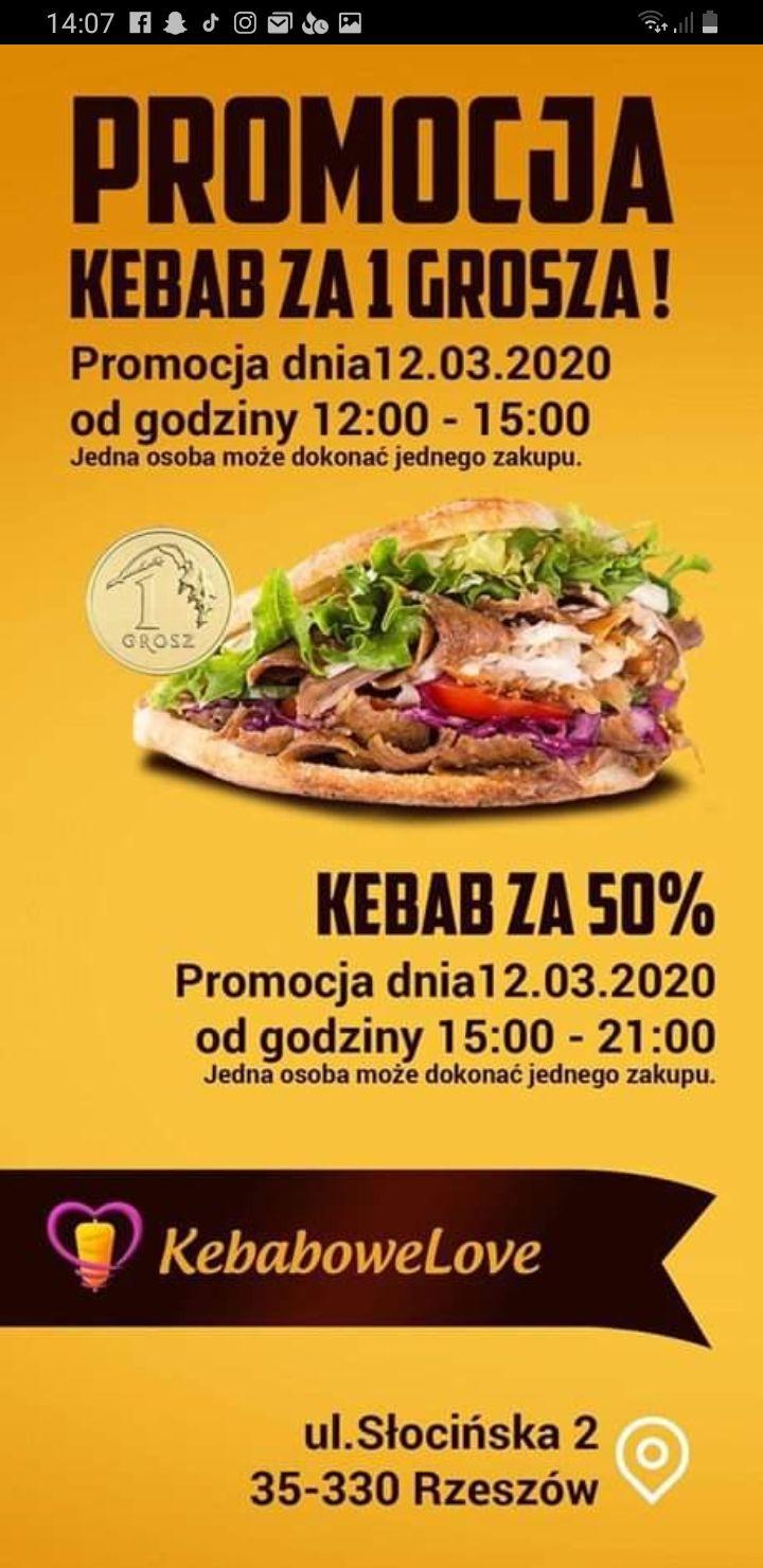 Kebab za DARMO (1grosz*) w KEBABOWELOVE w Rzeszowie
