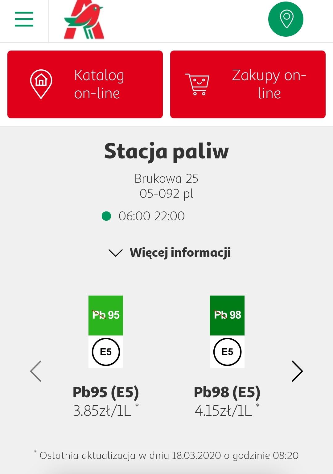 Auchan Łomianki - paliwo Pb95 3,85zl/litr.