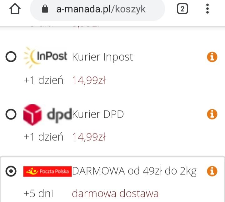 Apteka a-manada.pl darmowa dostawa od 49zł do 2kg