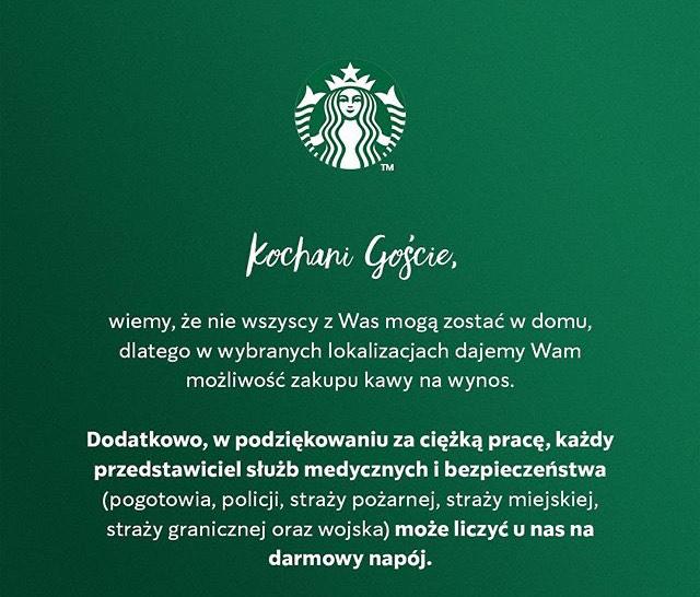 DARMOWY NAPÓJ DLA SŁUŻB MEDYCZNYCH I BEZPIECZEŃSTWA Starbucks