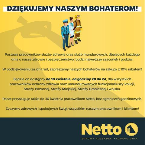 Netto -10% na zakupy dla służby zdrowia i mundurowych