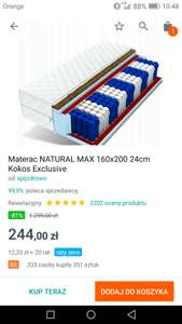 Materac NATURAL MAX 160x200 24cm Kokos Exclusive