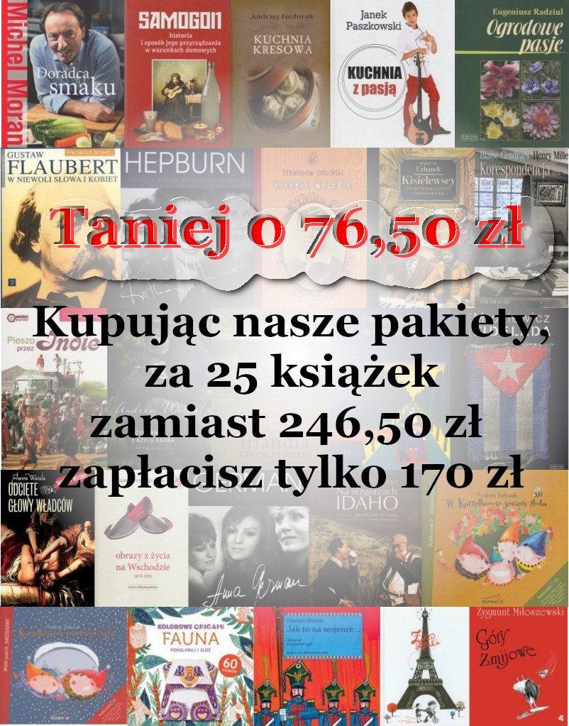 Pakiety 5 książek z różnych dziedziń w cenie od 28 do 38,50 zł za pakiet