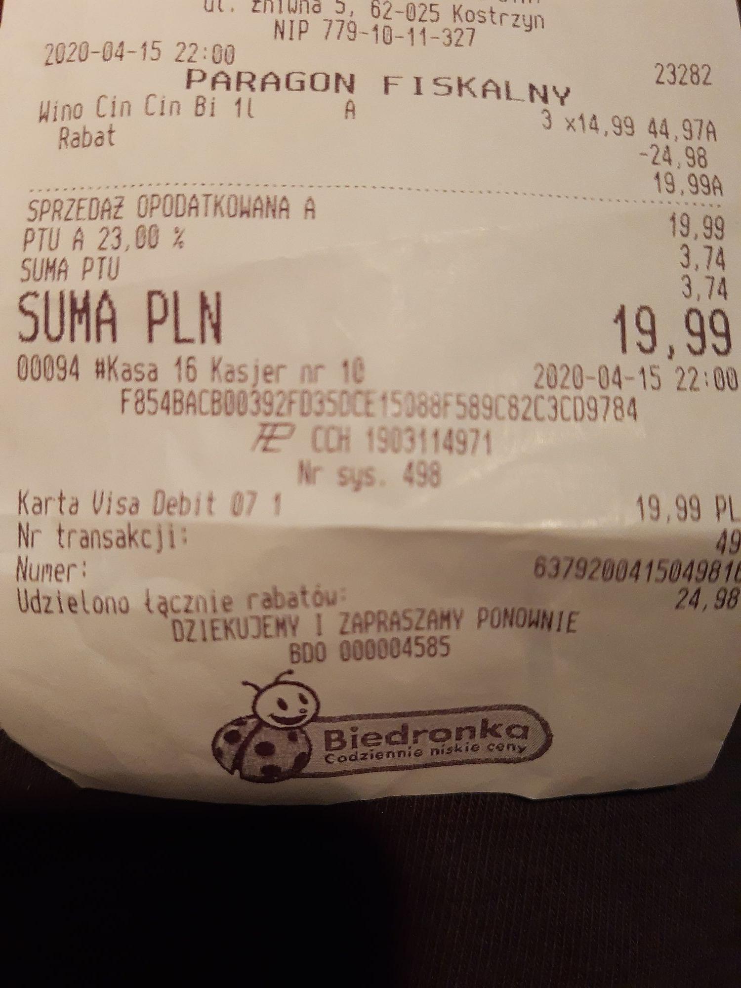 Błąd cenowy, biedronka 3 CIN CIN bianco za 19.99