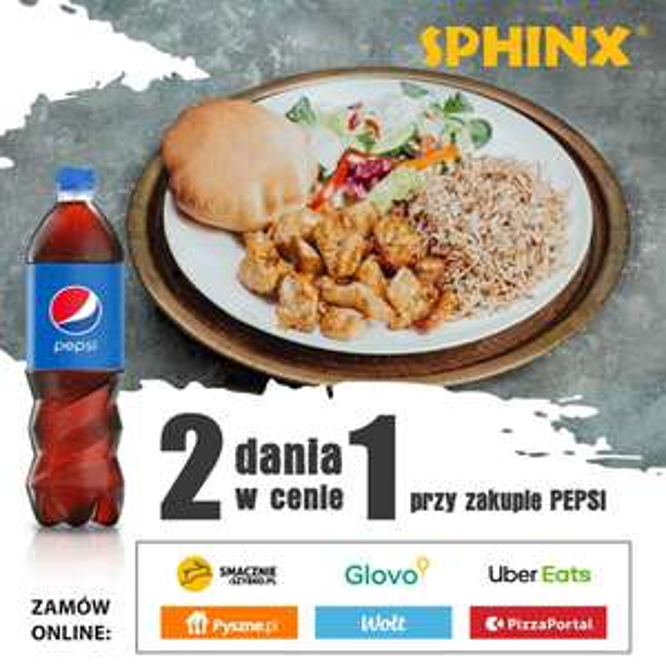SPHINX 2 dania w cenie 1 przy zakupie pepsi