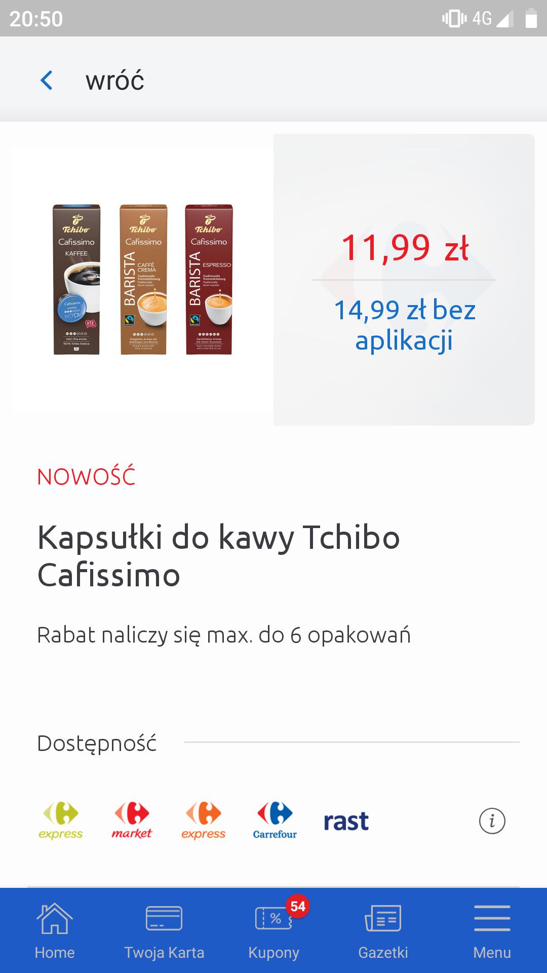 Kapsułki Tchiho cafissimo- Carrefour