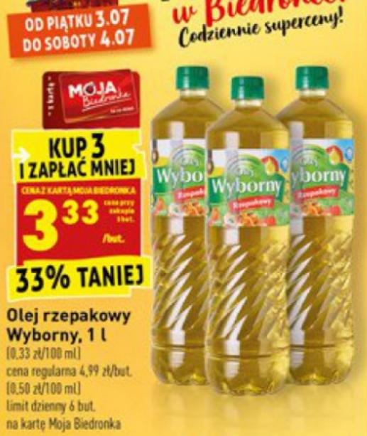 Olej rzepakowy Wyborny 1l. Kup 3 i zapłać mniej. Biedronka