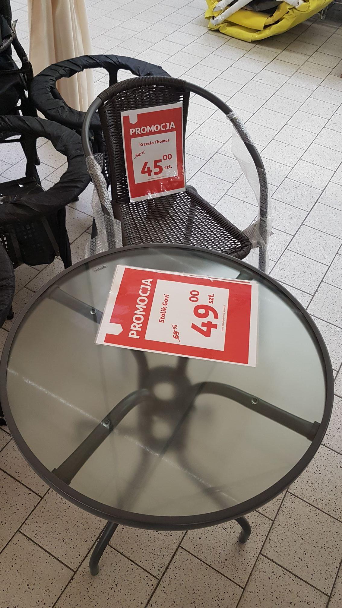 Stolik 60 cm i krzesła ogrodowe promocje Auchan