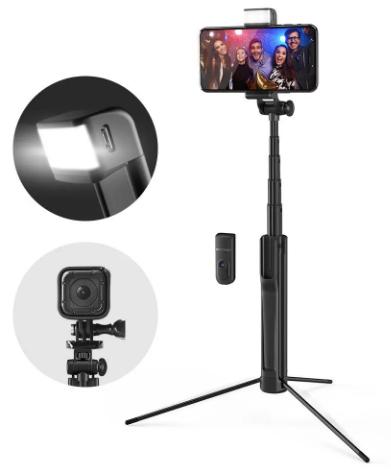 Blitzwolf BW-BS8 Rozszerzalny kijek do Selfie ze stojakiem bluetooth LED Fill Light
