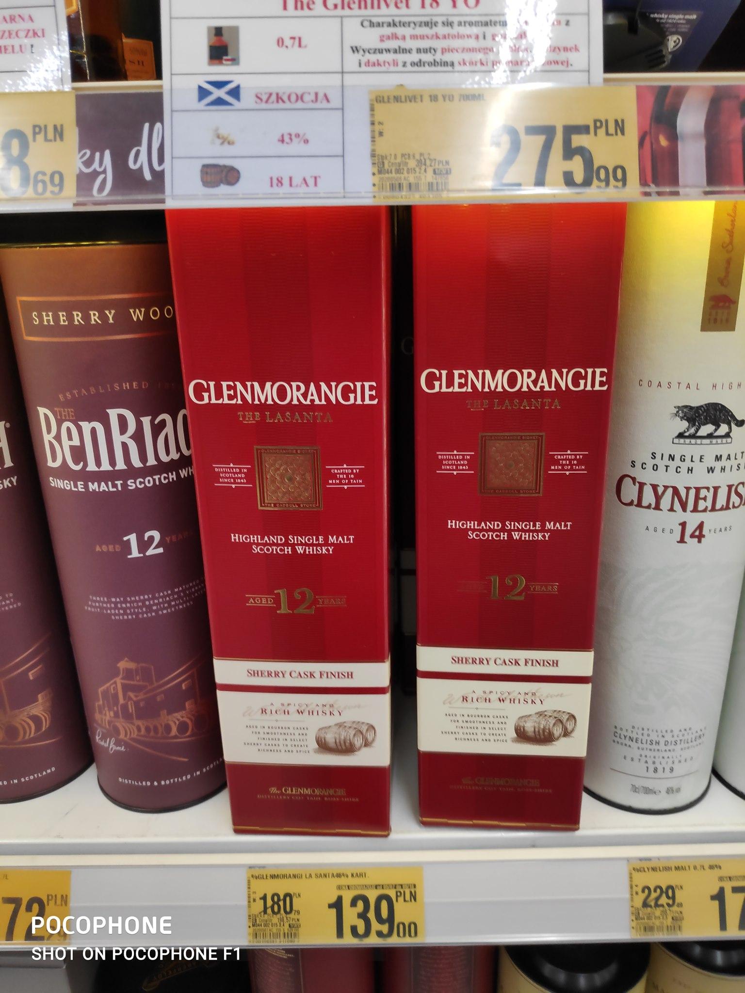 Whisky Glenmorangie 12 YO The Lasanta Sherry Cask Finish, Glenfarclas 10 YO(za 99zł) oraz Clynelish 14 YO Auchan Tarnów Błonie