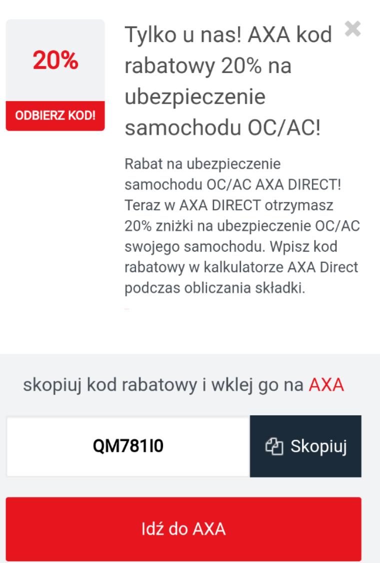 Znizka 20% na ubezpieczenie OC/AC w Axa Direct + Mbank 15% czytaj opis