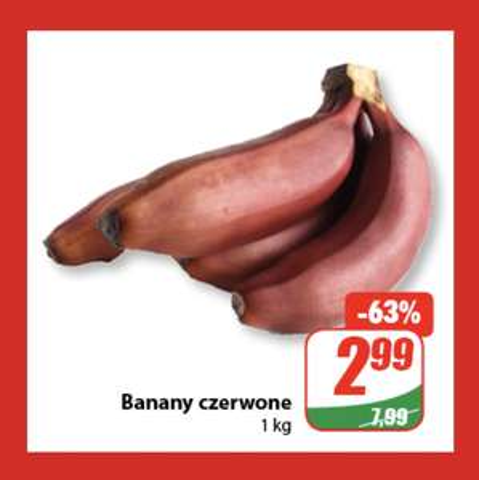 Banany czerwone 2,99 zł/kg @ dino