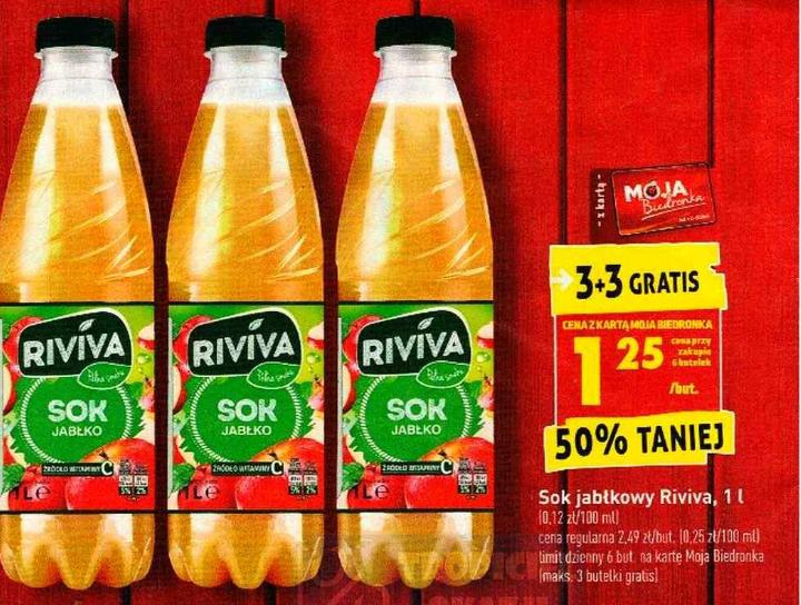 Soki jabłkowe Riviva 1l 3+3 gratis. Biedronka