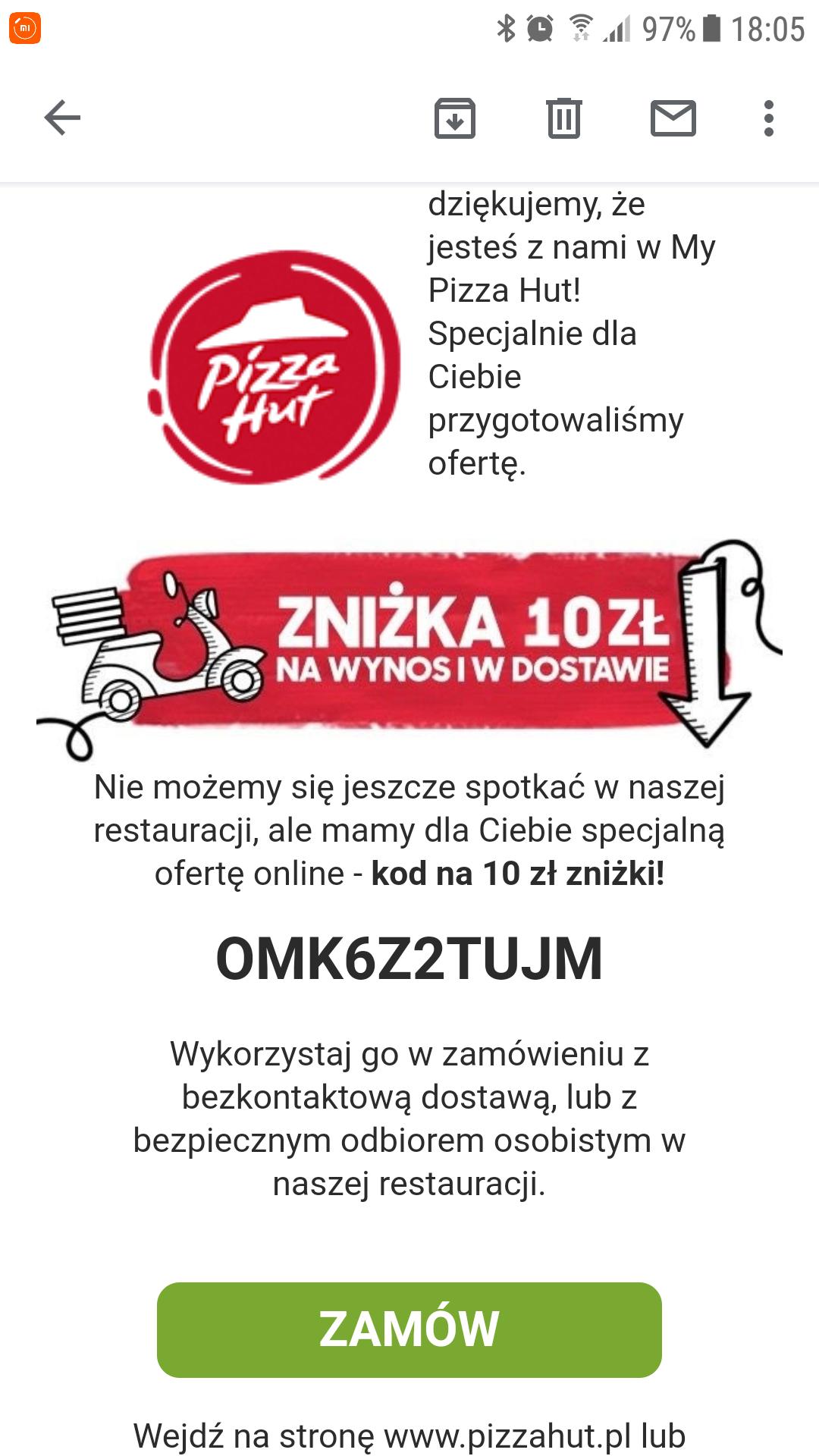 My Pizza Hut z kodem na -10 zł