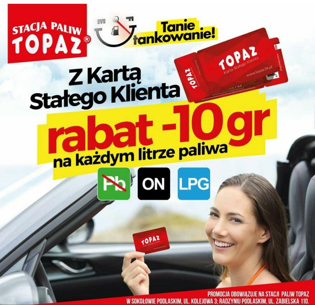 Topaz Tanie tankowanie z kartą stałego klienta -10gr na każdym litrze na wybranych stacjach