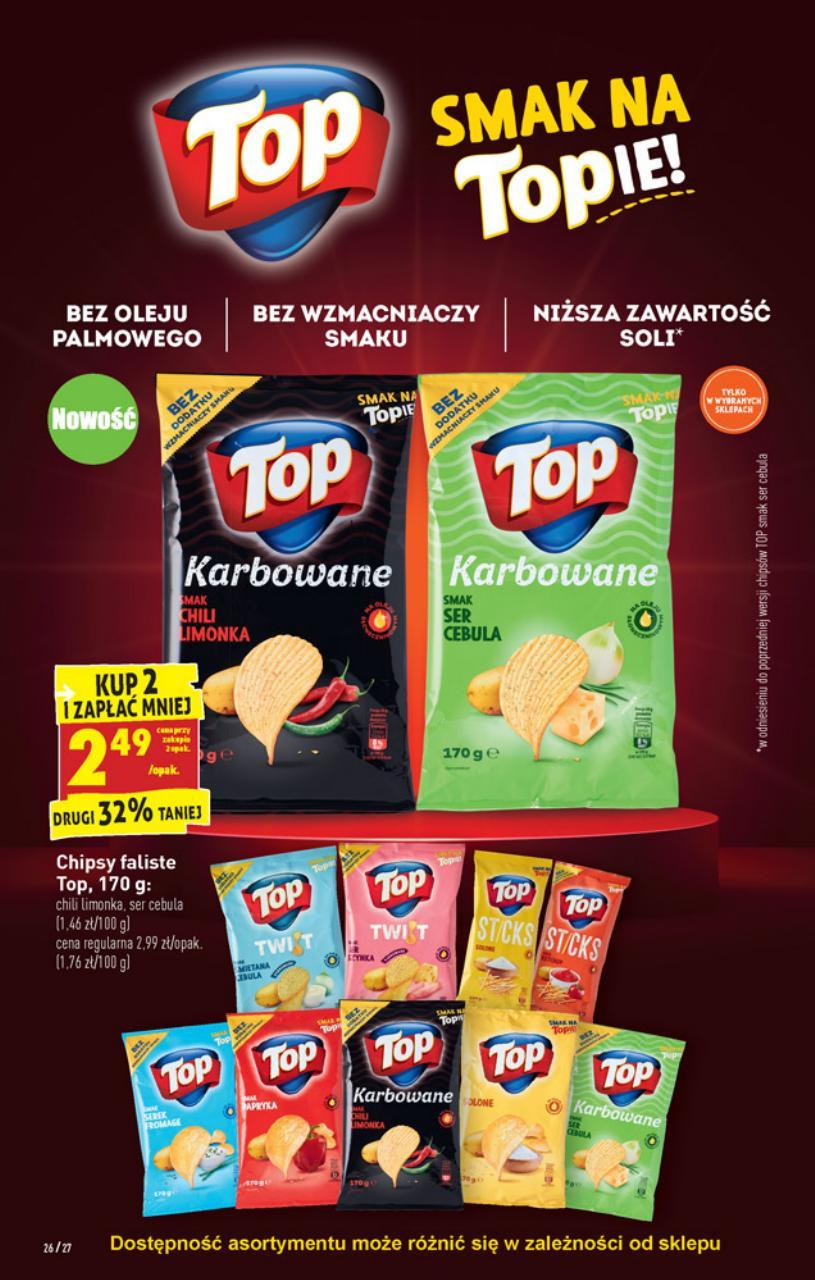 Chipsy Top Chips 170g. Kup 2 zapłać mniej. Biedronka.