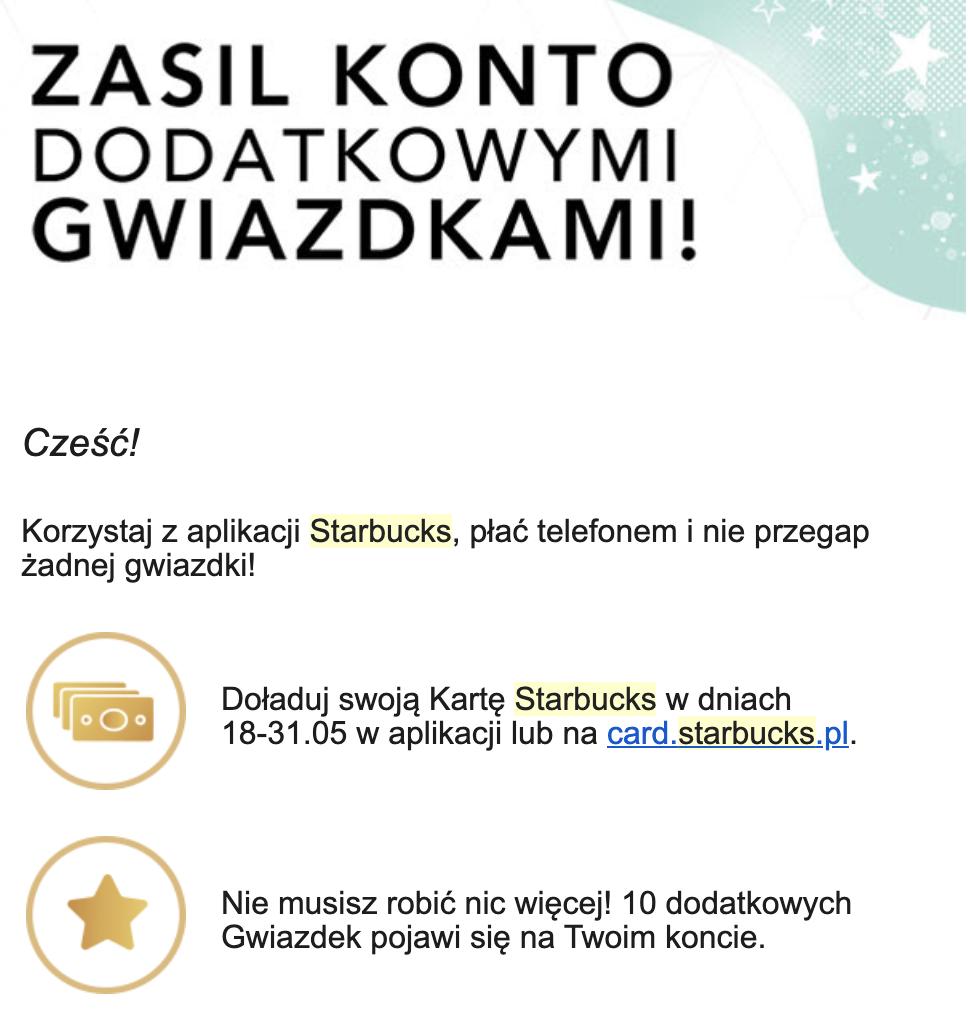 10 dodatkowych gwiazdek Starbucks Rewards po doładowaniu online