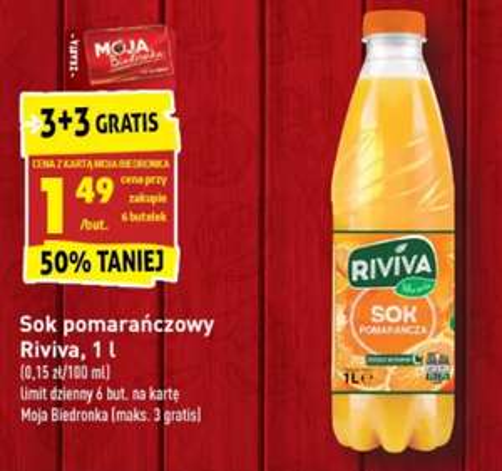 Sok pomarańczowy Riviva 1l 3+3 gratis. Biedronka