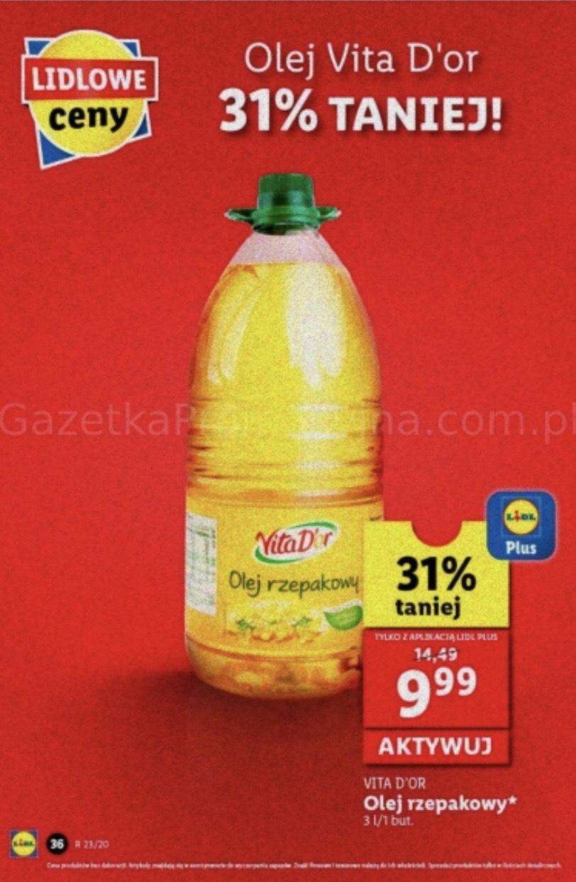 Olej rzepakowy 3L (3,33zł/L) @ Lidl