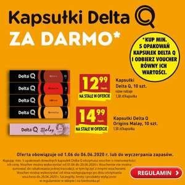 Kapsułki delta q za darmo przy minimalnym zakupie 5 szt - Biedronka