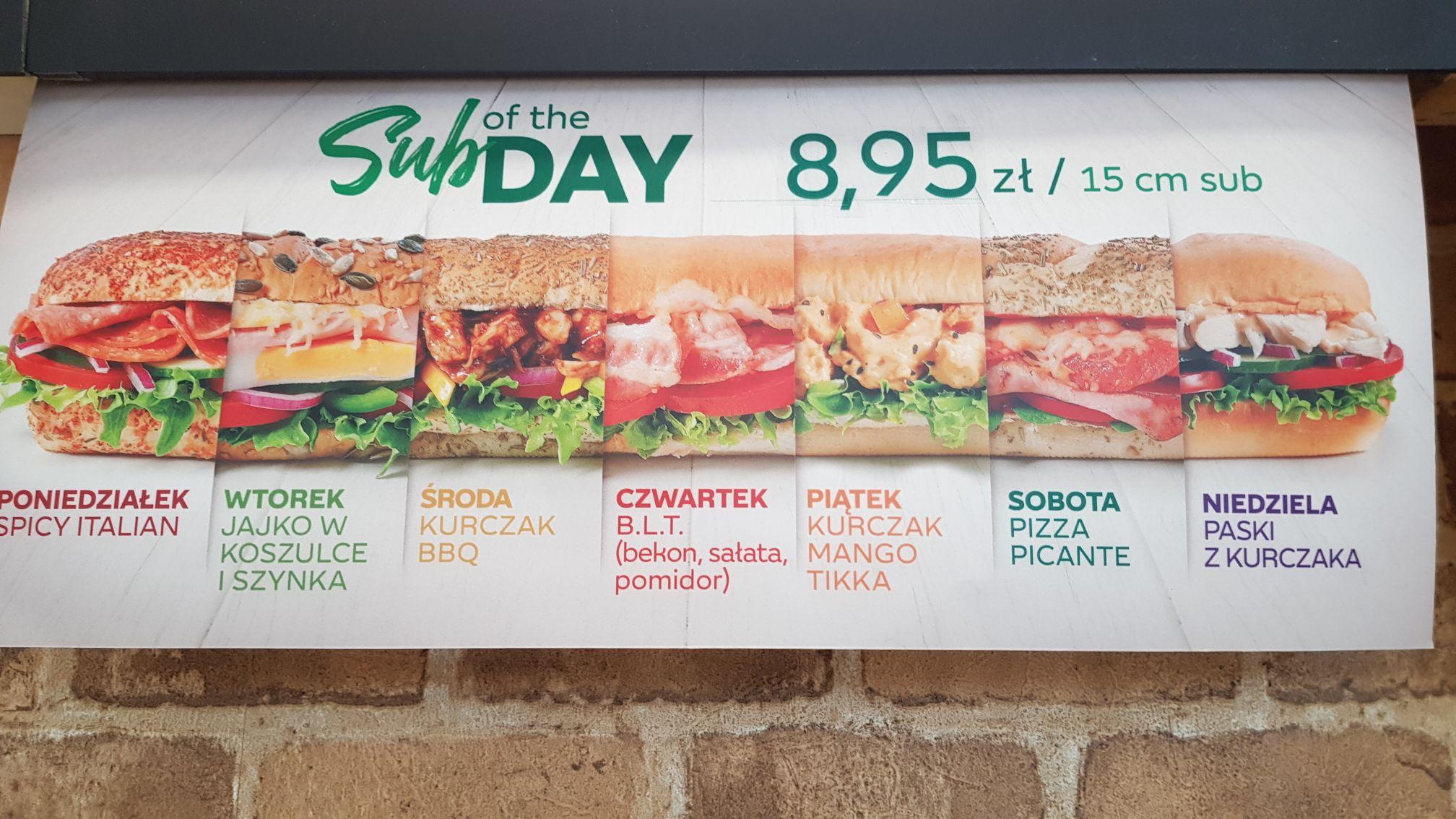 Subway   Dowolny Sub of The Day za 8,95   Nowe SoTD