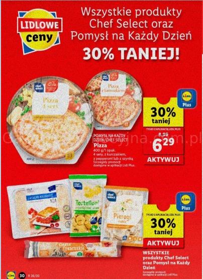 Pomysł na każdy dzień / Chef Select Pizza 400g 4 sery, z kurczakiem, z pepperoni lub szynką oraz inne -30% Aplikacja Lidl Plus @Lidl