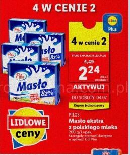 Pilos Masło Extra 200g 4 w cenie 2 @Lidl Wymagana aplikacja Lidl Plus
