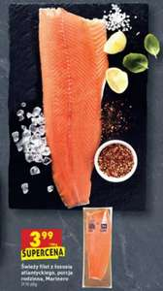 Świeży filet z łososia atlantyckiego, porcja rodzinna 3,99/100g Biedronka