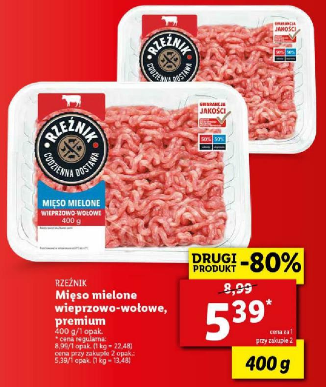 Mięso mielone wieprzowo - wołowe 400g, przy zakupie 2 szt. Lidl