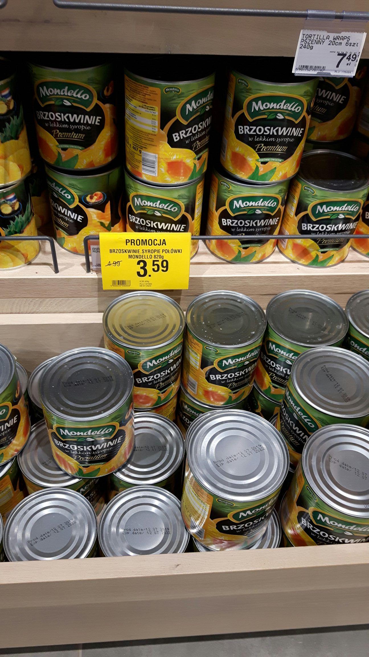 Brzoskwinie w syropie 820g firmy Mondello - Gdańsk, Sklep Merkus