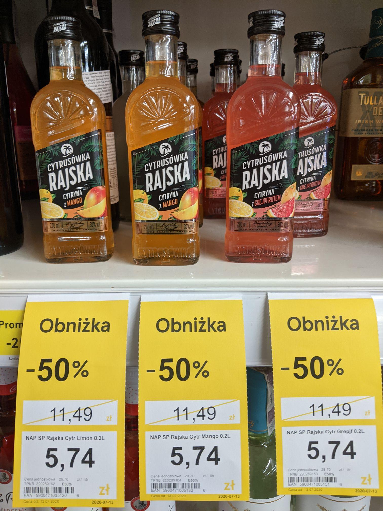 Rajska Cytrusówka, Różne smaki, Napój alkoholowy, 30% 0,2l Tesco