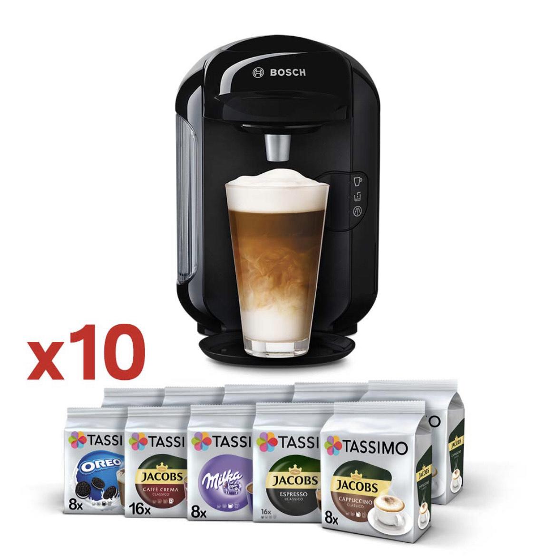 Zestaw ekspres kapsułkowy Tassimo Bosch Vivy2 czarny + 128 kaw i napojów Tassimo