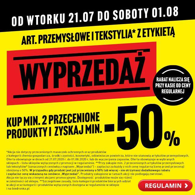 Wyprzedaż artykułów przemysłowych kup 2 i zapłać minimum -50% ceny regularnej - Biedronka