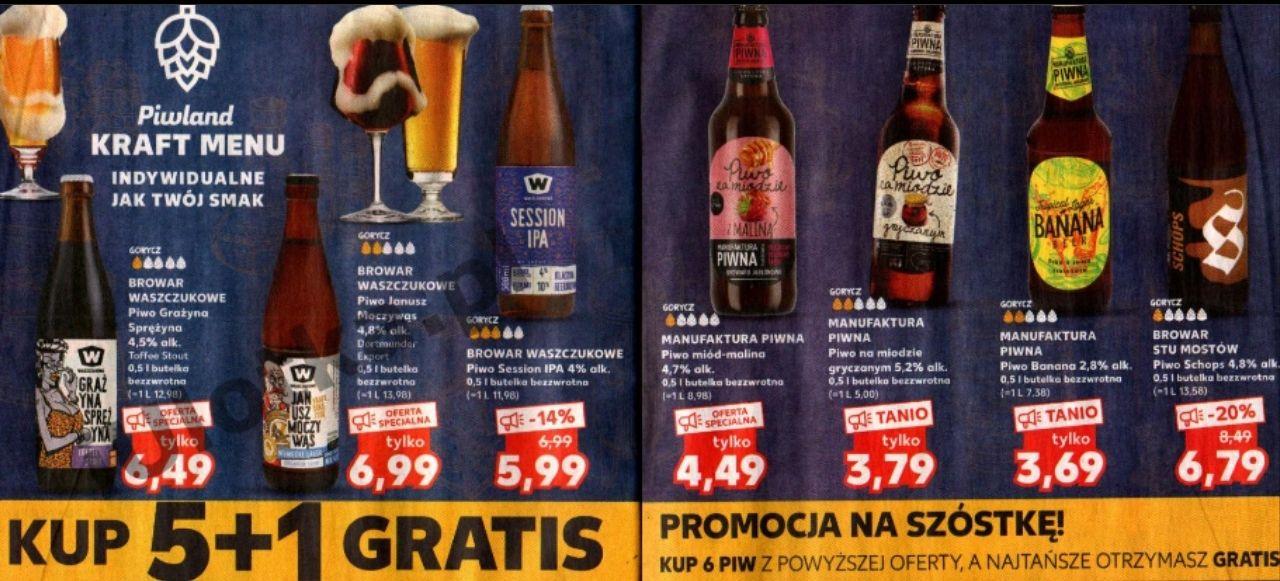 Kup 5 + 1 gratis: wybrane piwa taniej przy zakupie 6 (m.in. Na Miodzie Gryczanym: 3,16zł za 1) @ Kaufland