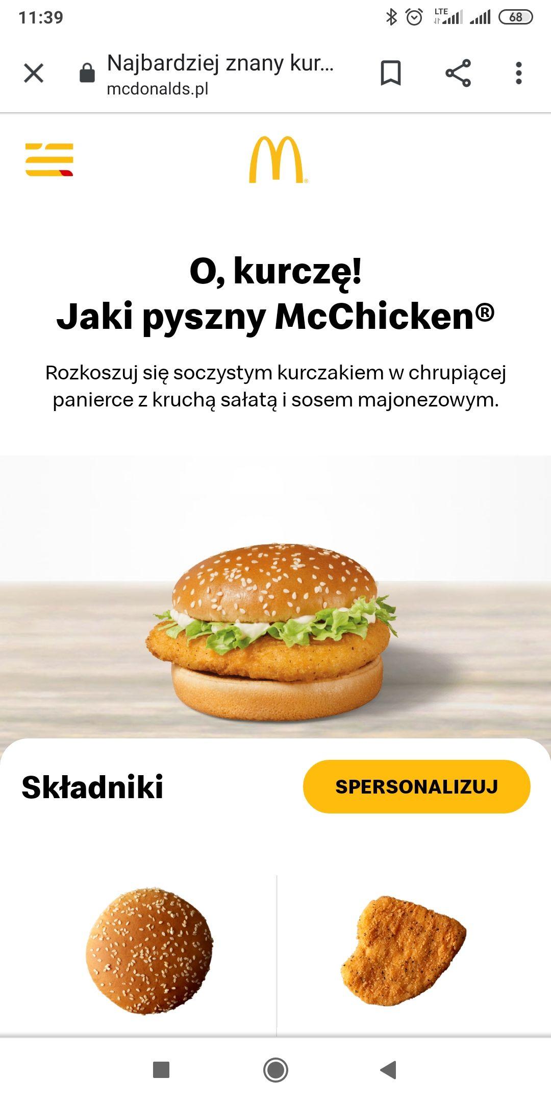 McDonald's Zestaw: McChicken + mały napój + małe frytki