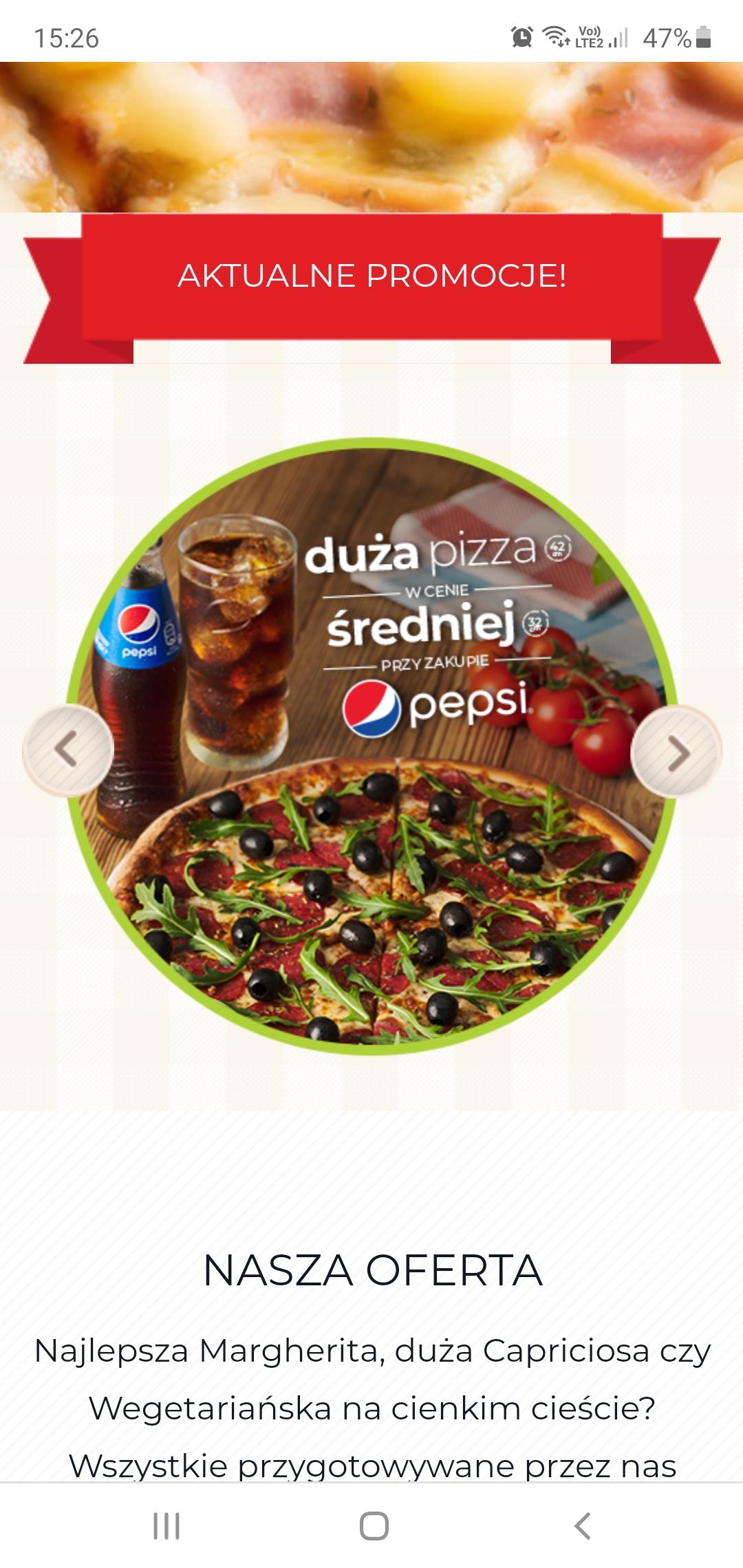 Da grasso Duża pizza w cenie średniej przy zakupie pepsi